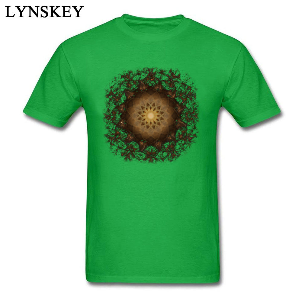100% Cotton Tops Tees Copper Mandala for Boys Printed On T-Shirt Casual Prevailing Round Neck Short Sleeve Sweatshirts green