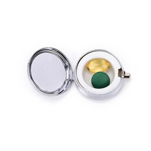 1PCS Metal Round Silver Tablet Pill Boxes Holder Advantageous Container Medicine Case Small Cases Wholesale(China)