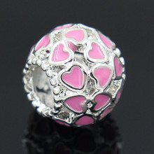 2016 New fashion women Round Heart Silver 10 Colors  Original European Beads Style Charms DIY Bead Fit Pandora Braclets Chain