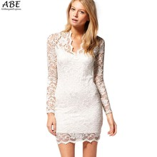 Nice Good New Women Sexy V-neck low-cut Flower Long Sleeve Evening Party Lace Bag Hip Mini Dress Clubwear Bodycon SV05