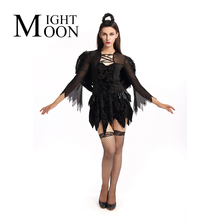 MOONIGHT Adult Women Halloween Black Fallen Dark Angel Sexy Costume Cosplay Devil Fantasy Fancy Dress Mini Dress Halo Wings(China)