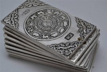 Free shipping 36pcs/lot,Chinese 12 Zodiac Engraved Mixed Metal Plates, The ancient silver bar