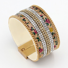Fashion Leather Flowers Bracelet Multilayer Rhinestone Chain Fringe Combination Gold Silver-plated magnetic  bracelets & bangles