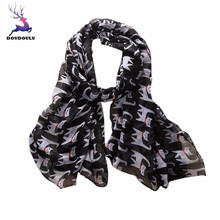 DOUDOULU 2017 Fashion Women Ladies Bowknot Cat Print Pattern Long Scarf Warm Wrap Shawl soft Voile Scarf Cachecol Bufanda Mujer