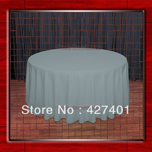 "Hot Sale  132"" R Slate Round Table Cloth Polyester Plain Table Cover for Wedding Events &Party Decoration(Supplier)"
