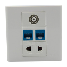 2 ports cat6 rj45, TV, 2 ports AC power wall plate support DIY wall plate