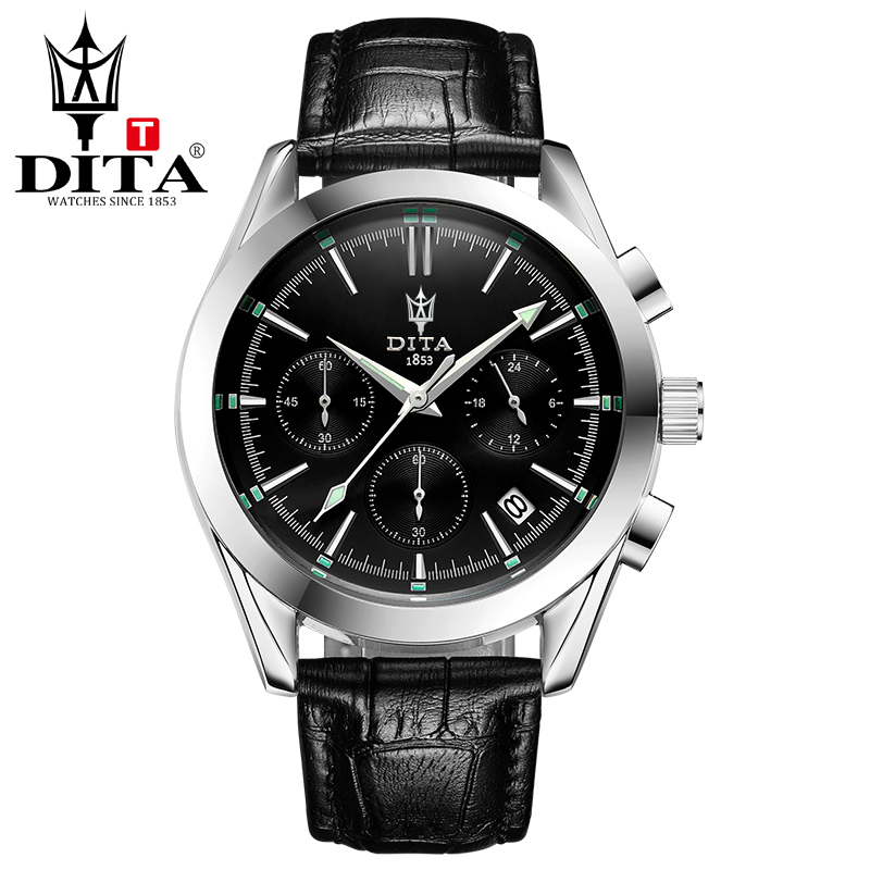 DITA Top Brand Luxury Leather Mens Watches Fashion Casual Sport Chronograph wristwatch Quartz Clock geniune leather strap brown<br>