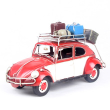 Antique Diecast Vintage Car Modles With Sound & Light Children Pull Back Toys Classic beetle 1948 car Home decor Iron Craft