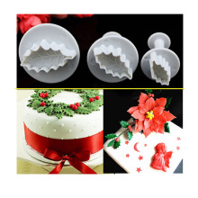 3Pcs/Set Christmas Rose Leaf Cake Icing Fondant Plunger Cutter Pastry Diy Mold Christmas Cake Decorating Tools