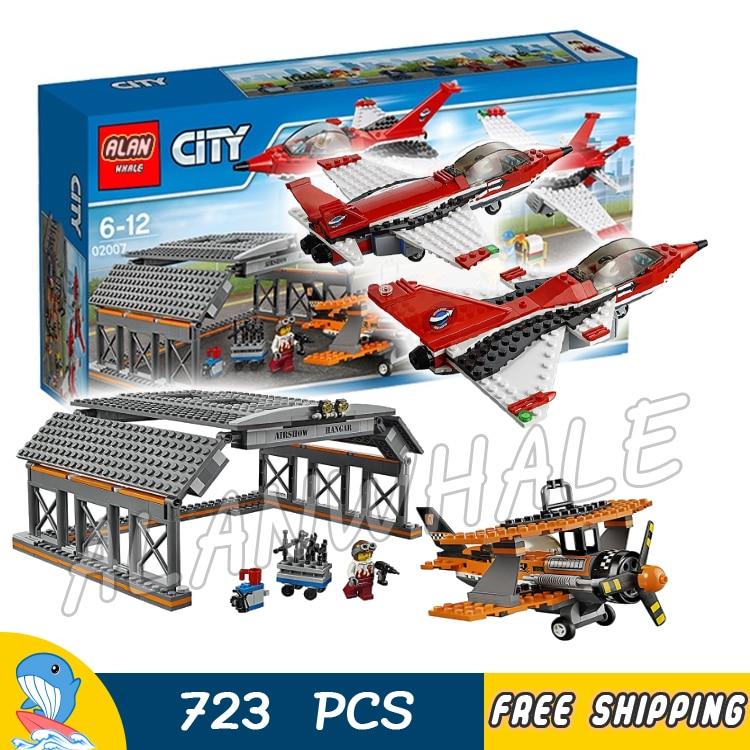 723pcs City Airport Air Show Jet Plane Hangar Model Building Blocks 02007 Assemble Kit Bricks Children Toys Compatible With Lego<br>