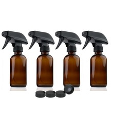 4 X 8 Oz Large 250ml Amber Glass Spray Bottle Containers with black trigger sprayer storage cap for aroma essential oil cleaning