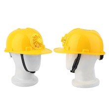 LESHP Solar Safety Helmet Outdoor Solar Energy Cooling Cool Fan Safety Helmet Hard Ventilate Hat Cap Yellow Color Wholesale(China)