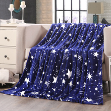 Fashion Galaxy design Blankets flannel soft Plaids twin full queen king size Throws blue color