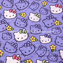 140X100cm Purple White Hello Kitty Purple Bow Purple Cotton Fabric for Baby Girl Cloth Sewing Bedding Sets Patchwork DIY-AFCK275(China)