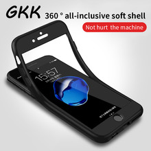 GKK 360 Full Soft TPU Silicone Cover Cases For iPhone 7 6s 6 Case 5 5s SE Case for iPhone 6 7 7S Plus case with Tempered glass(China)