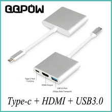 "QQPOW USB 3.1 Type C to HDMI USB 3.0 USB-C HUB Adapter Type-C Extender HD 4K Cable for Macbook 12"" Chromebook Pixel TV Displayer"