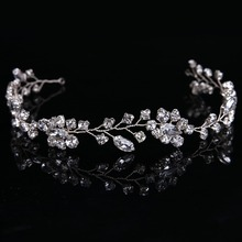 Gorgeous Handmade crystal headbands for women hair jewelry forehead hair ornaments silk band bridal crown wedding accessories