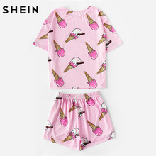 SHEIN pink ice cream print cute sleepwear 2 piece short pajama set(China)