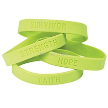 100pcs SURVIVOR FAITH STRENGTH HOPE Lime Green Awareness wristband silicone bracelets free shipping by FEDEX(China)