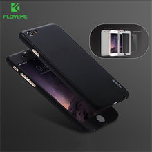 FLOVEME Full Protection Hard Case For Apple iphone 6 6S Plus Cover Front Glass Cover for iPhone6 6s 7 Plus Case 5s SE Fundas