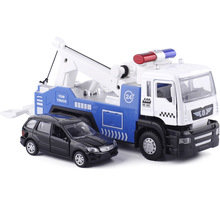 18.5Cm Die Cast TOW TRUCK With 1pc Smaller Cars (1/64) W/Light Sound, Traffic Car MINIAUTO 5009-1