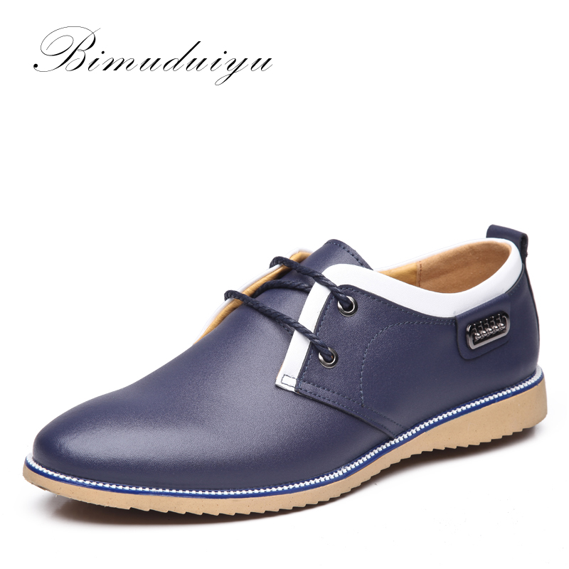 BIMUDUIYU Clearance Fashion Stitching Mens Spring Casual Shoes Quality Cow Split Leather Dress Suits Wedding Shoe Young Style<br>