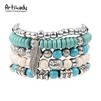 Artilady nouveau bouddha perles 5 pcs ensemble bracelets boho turquoise bracelet ensemble pour déclaration femmes bijoux parti cadeau