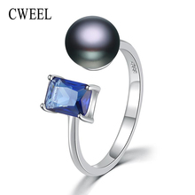 CWEEL 925 Sterling Silver Rings For Women Black Adjustable Engagement Ring Pearl Ring Female Wedding Accessories India Rings(China)
