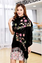 Black shawl Hot !! New high quality Scarf Chinese Lady Cashmere Pashmina Embroidered Shawl/Scarf /Scarves Wrap free shipping(China)