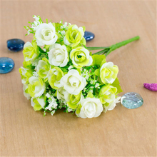 1 Bouquet 21 Heads Silk Artificial Plastic Rose Flowers For Decoration Wedding Home Decor