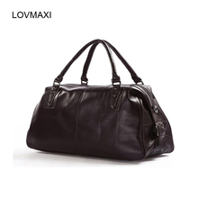 LOVMAXI 2017 Male Leather Travel bags Large capacity the first layer of leather man bag large luggage big travel handbag(China)
