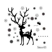 Deer snowflake Flower Christmas decals Vinyl wall sticker Xmas43 for Christmas wall decoration