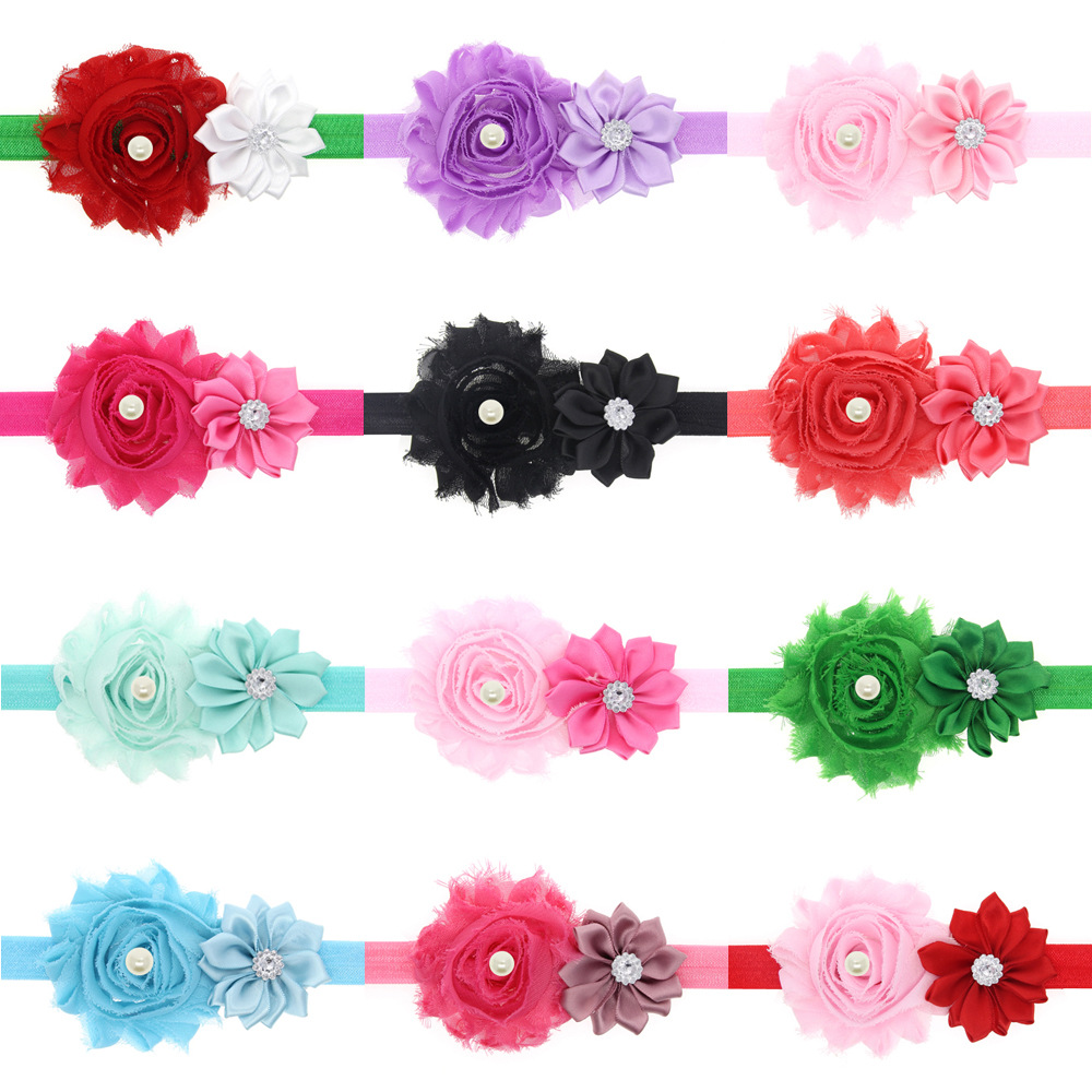 24PC Baby Girls Elastic Headband Chiffon Flower Head band Newborn Infant Hair Band Kids Baby Hair Accessories<br><br>Aliexpress