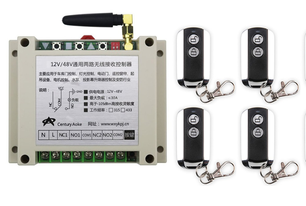 latest DC12V 24V 36V 48V 10A 2CH Wireless Remote Control Switch System 1pcs Receiver &amp; 4pcs 2 Keys metal waterproof Remote<br>
