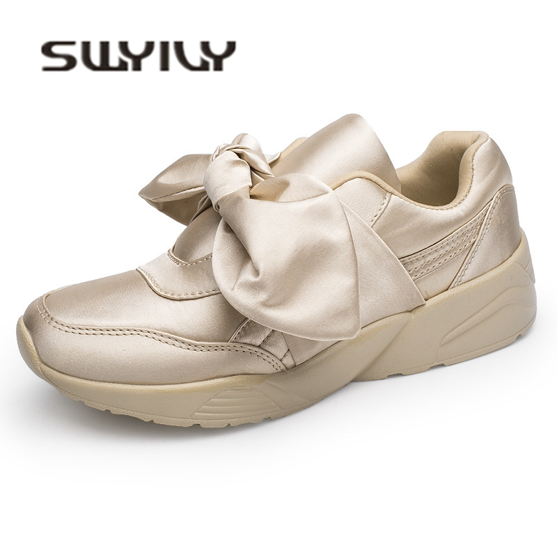 SWYIVY Bow Sneakers Woman Platform 2018 Summer Autumn Satin Female Girl Casaul Shoes Lady Fashion Fabric Slip On Sneakers