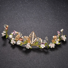 Profusion colour pearl Hair Band rhinestone headband bridal tiara wedding Headpiece Vintage bride  hair accessories