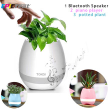 EPiCfeat Wireless Portable Speaker with LED Potted Plant Piano Player Creative Gift Bluetooth Column for Office Home BT-K3(China)