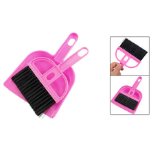 HOT-Office Home Car Cleaning Mini Whisk Broom Dustpan Set Pink Black(China)
