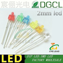 100pcs/lots 2mm tower led diode RED/GREEN/BLUE/WHITE/YELLOW/ORANGE nippler indicator mini 2mm dip led lamp bulb(China)