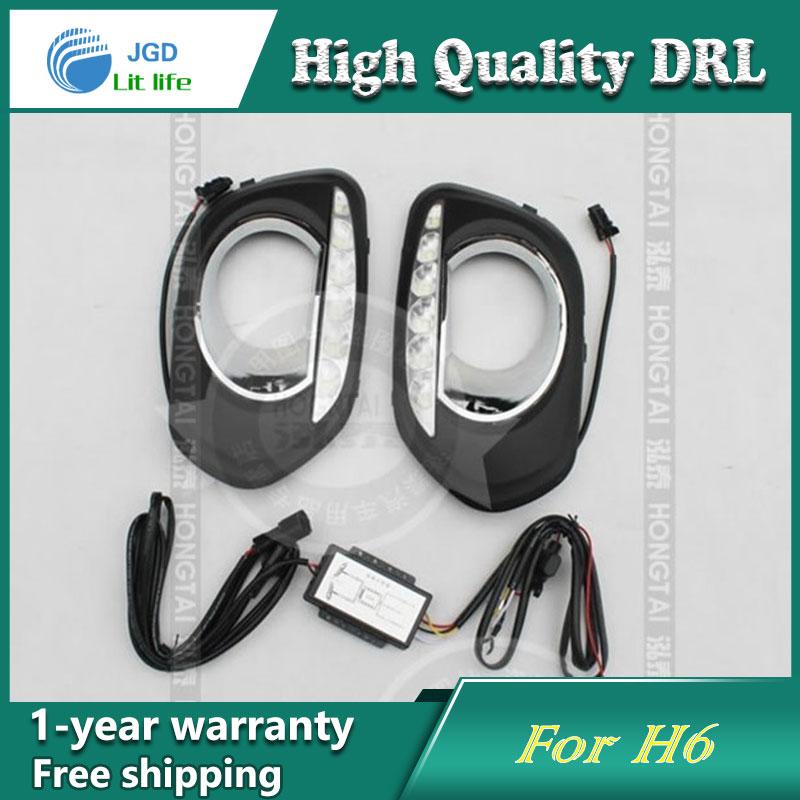 Free shipping !12V 6000k LED DRL Daytime running light case for Great Wall Haval H6 fog lamp frame Fog light Car styling<br>