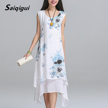 Saiqigui Summer dress New Fashion sleeveless women dress casual cotton Linen dress Printed o-neck plus size vestidos de festa(China)