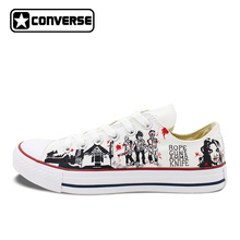 2017 Low Top Converse All Star Men Women's Shoes Custom Design Walking Dead Hand Painted Canvas Sneakers Skateboarding Shoes(China)