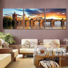 Home Decor Modern Paintings The Vltava River Landscape Canvas Painting European Traditional Building Wall Art Pictures No Frames