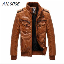 Buy AILOOGE Men's Locomotive Leather Jacket Coat Thickening Fur Outerwear Slim Winter PU Jacket Brown, M-XXXL for $41.65 in AliExpress store