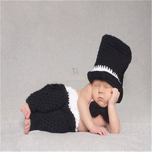 Crochet Pattern Newborn Photography Props Infant Toddler Knitted Costume Handmade Baby Hat 0-6 M Baby Boy Gentleman costume 1set
