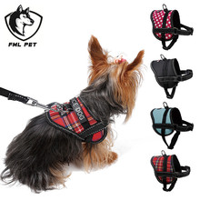 FML Pet Reflective Belt Customize Lable Adjustable Small Pet Dog Harness Leash Set For Small Dogs Teddy Cloth Traction Rope(China)