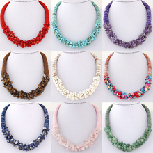New SPX6548 Fashion Amazing Bohemian Bib Bead collar Statement big chunky Leather Ocean stone short necklaces  Gift 1PC