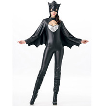 Vocole Sexy Women Halloween Batman Batgirl Supergirl Superhero Faux Leather Cosplay Costumes Jumpsuit