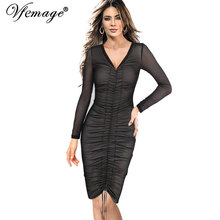 Vfemage Womens Celebrity Sexy See Through Mesh Long Sleeve V-neck Ruched Draped Casual Party Club Slim Bodycon Pencil Dress 6839