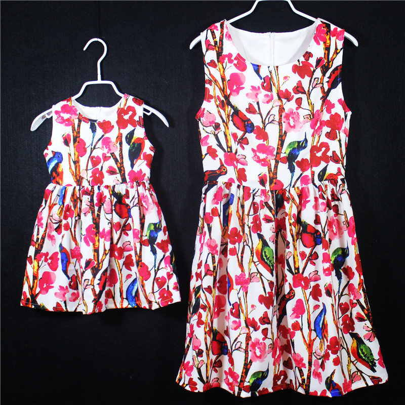 Summer brand A-line family holiday beach dress kids Sleeveless red floral prints skirts mother and daughter girls jumper dresses<br><br>Aliexpress